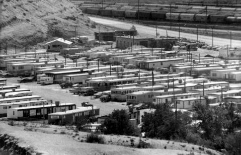 The Routh Trailer Court, Green River, in 1979 when Sweetwater County was booming. Sweetwater County Historical Museum.