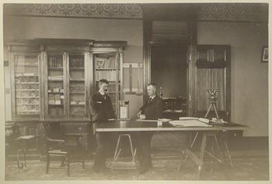 Above, Mead, right, in his office in Cheyenne ca. 1895. In 1899, he left the position as state engineer for job in Washington, D.C. (American Heritage Center photo, ah002551)