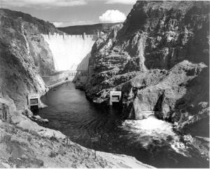 Mead's contribution to water development in the West was recognized permanently when Lake Mead, behind Hoover Dam, was named for him. Above, the dam in 1942. (Ansel Adams photo, Wikipedia)