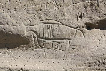 A buffalo at White Mountain Petroglyphs. Tom Rea photo.