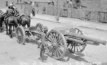 On the Mexican border in 1916, Bob learned to manage field guns and the mules that pulled them.