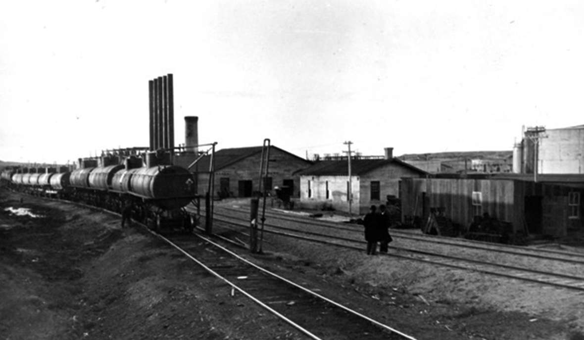 Railroad yards on the Shoshone Reservation, 1913. The Chicago & North Western arrived on the edge of the reservation in 1906, bringing in settlers eager for recently ceded Indian lands. Joseph Dixon photo, Wyoming Veterans Memorial Museum.
