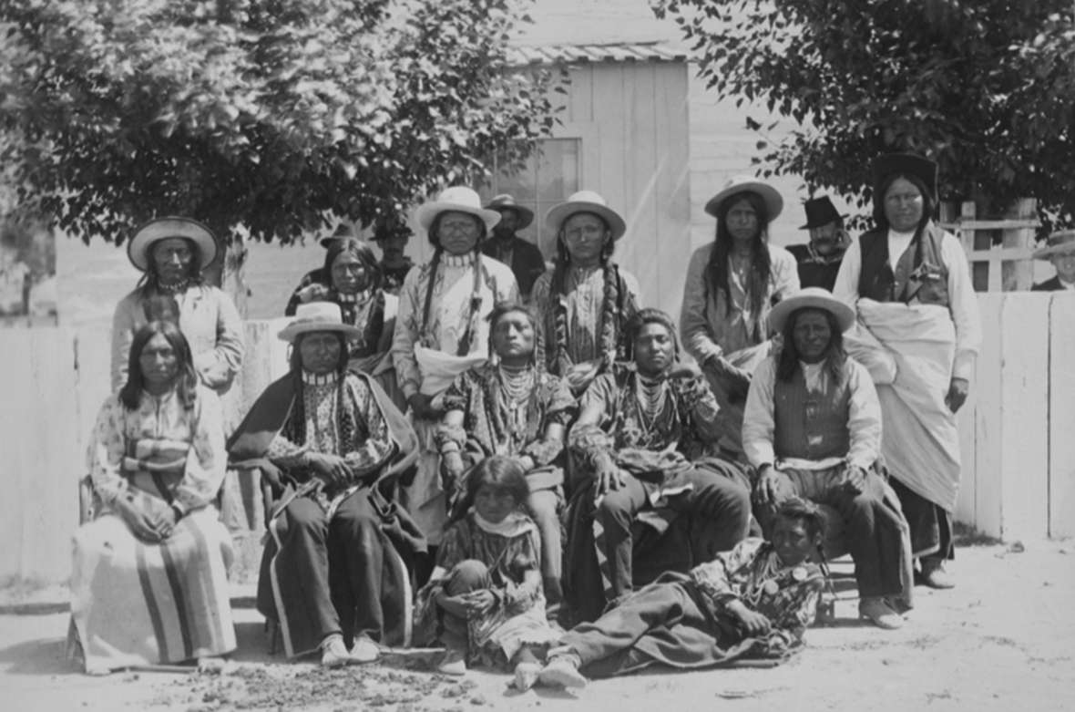Arapaho and Shoshone residents of the Shoshone Reservation at Fort Washakie, 1883. F. Jay Haynes photo, Library of Congress.