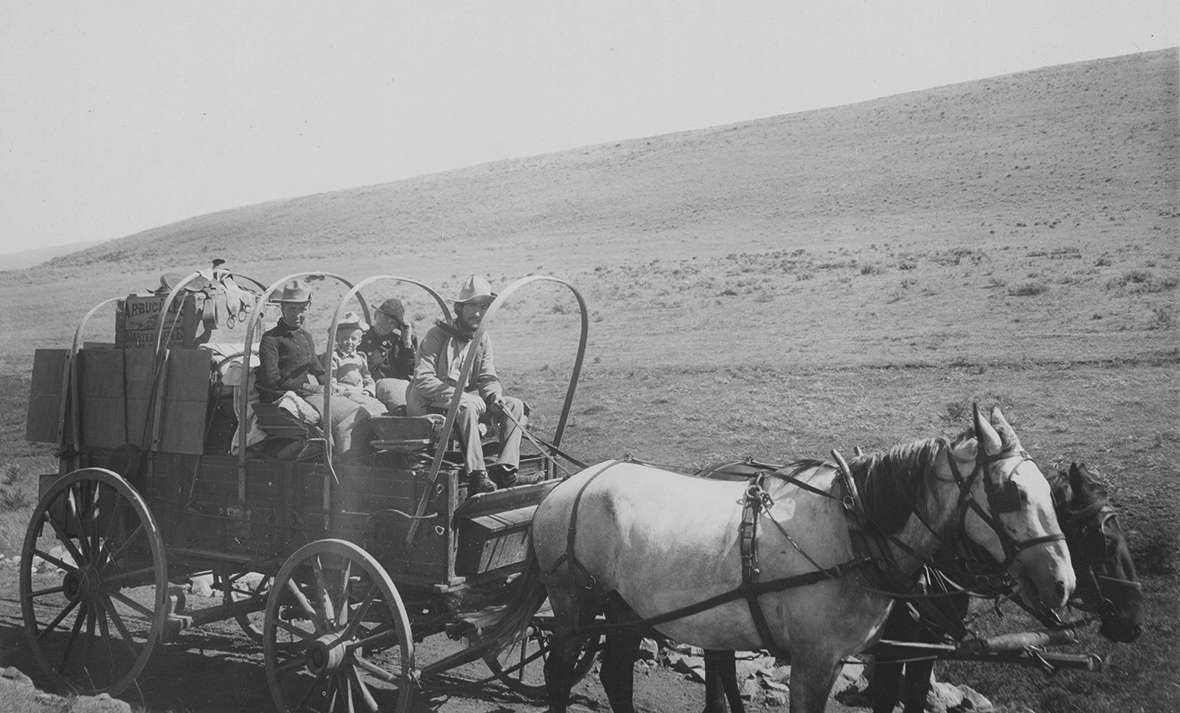 Members of Aven Nelson's plant-gathering expedition to Yellowstone in 1899. Most likely these people are, left to right, Nelson's wife Celia Alice 'Allie' Nelson, daughters Helen and Neva, and student Leslie Goodding, who later became a botanist as well. American Heritage Center.