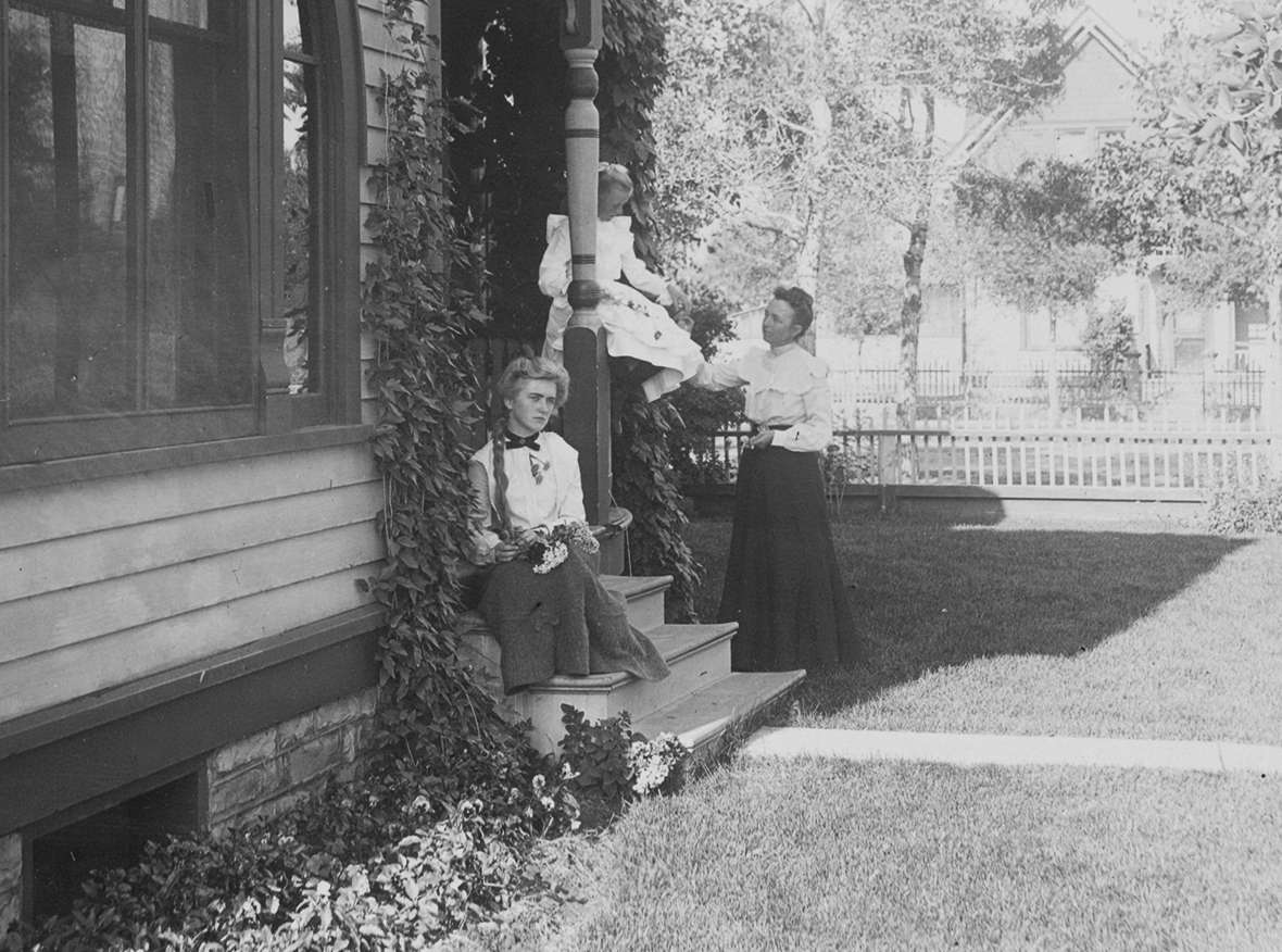 Left to right, Neva, Helen and Celia Alice 'Allie' Nelson at the family home on 9th Street in Laramie, perhaps around 1902. American Heritage Center.