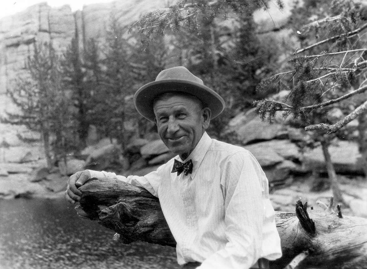 Aven Nelson in Rocky Mountain National Park in Colorado, 1931. His Rocky Mountain Herbarium on the UW campus by then was the center of botany for the entire region. American Heritage Center.