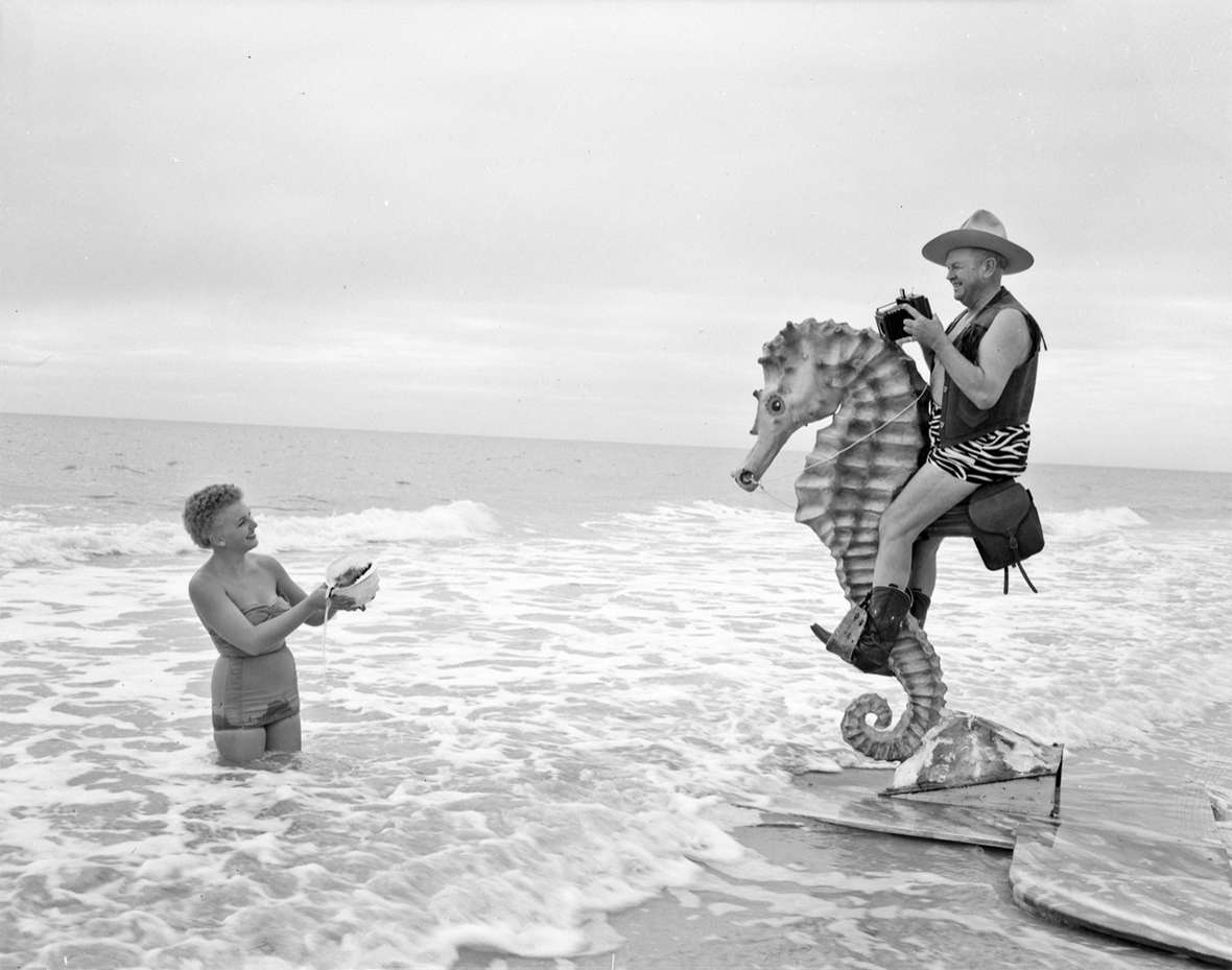 In his fifties, Belden married Verna Stouffer and moved with her to Florida. Billing himself as Seahorse Charlie Belden, he continued to take photographs, often of sailboats, beaches and women in swimsuits. Jack Richard photo, Buffalo Bill Center of the West.