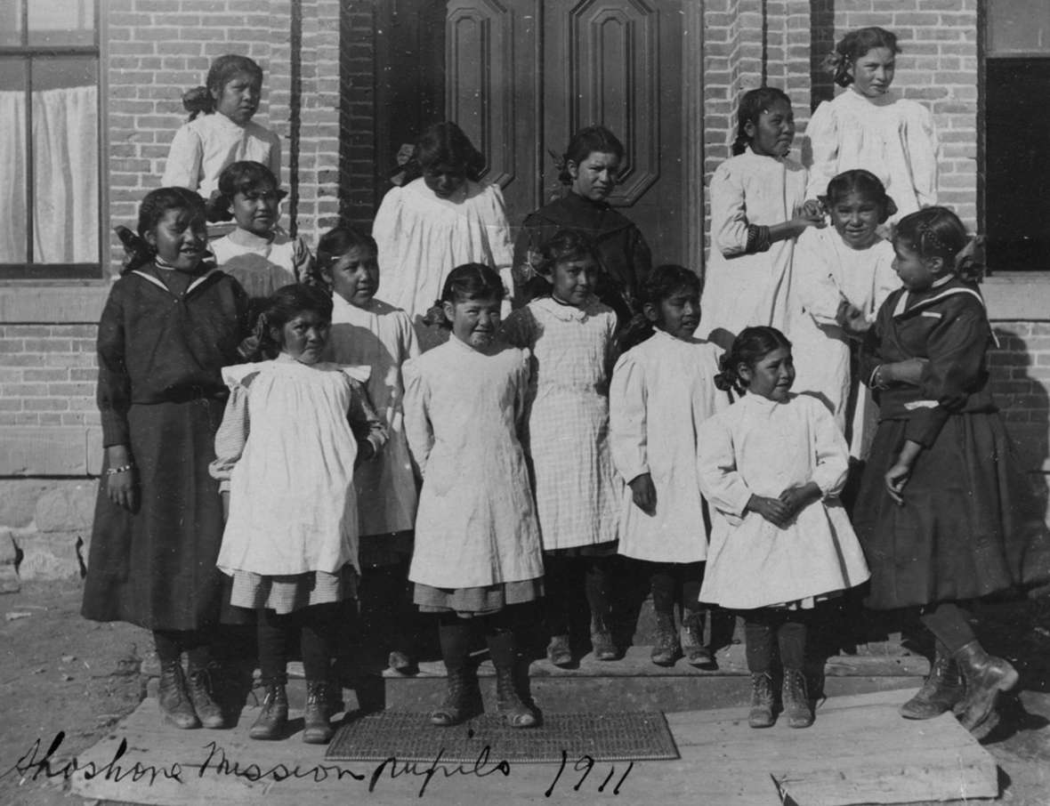 Shoshone girls at the Episcopalian mission school near Fort Washakie, 1911. Dr. Roberts' school for girls closed in 1949. American Heritage Center.