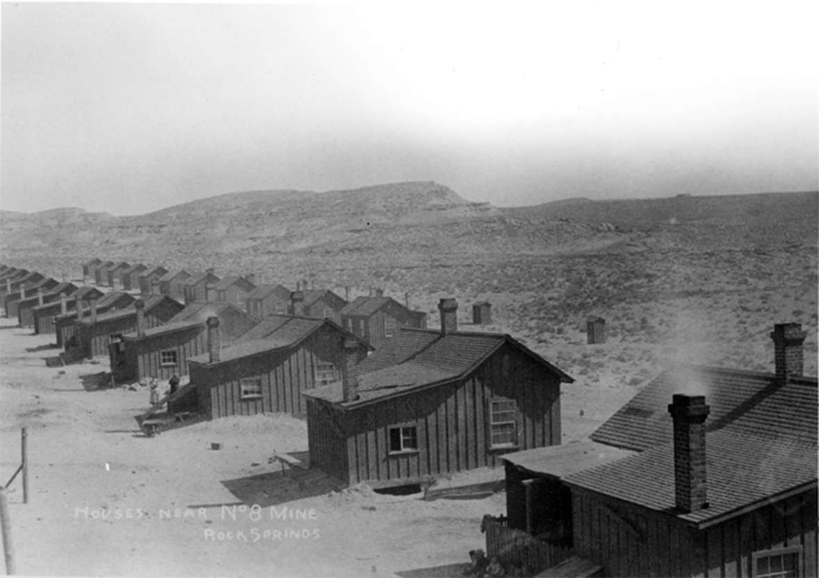 Joseph Omeyc and his friend, John Kolman, were shooting rabbits north of the Union Pacific's Number 8 coal mine when they were confronted by a deputy game warden. Shown here, miners' families' housing at the mine. Wyoming State Archives.