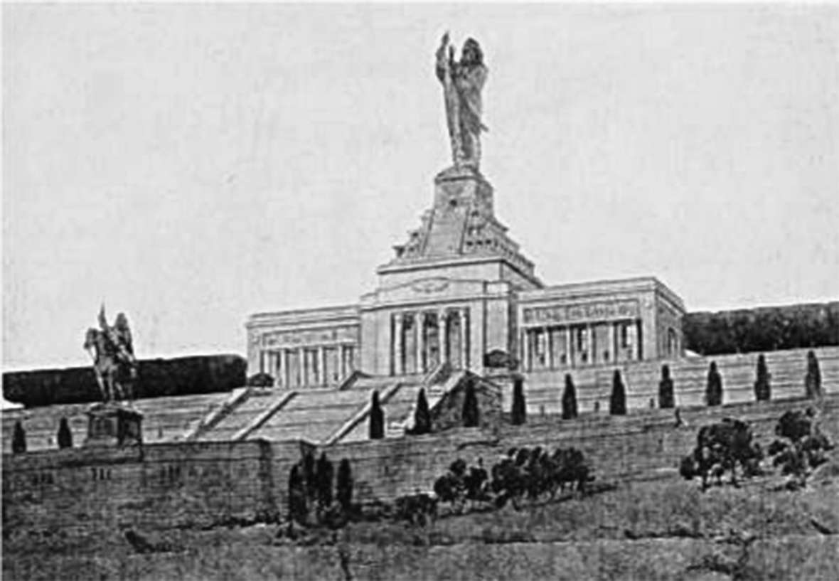 The proposed National American Indian Memorial, shown here in a sketch, was to be higher than the Statue of Liberty. But it was never built. Wikipedia.