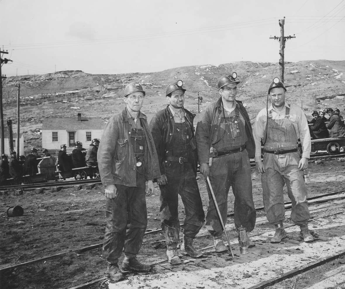 Coal miners head for work, Reliance, Wyo., 1950. Nearly all these men would have been laid off a few years later. Sweetwater County Historical Museum.