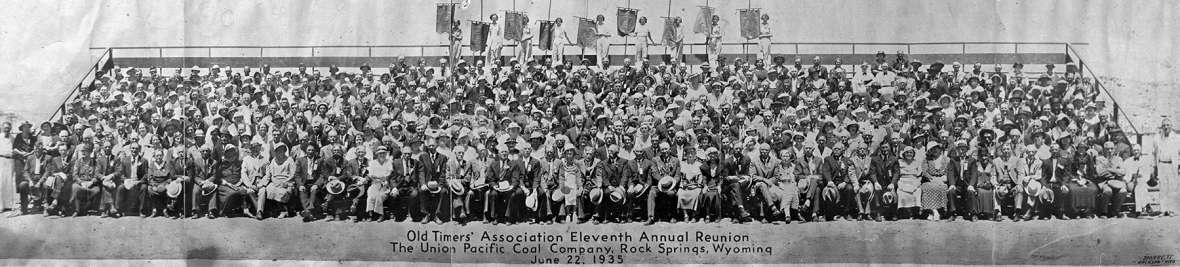 Union Pacific 40-year men—railroaders and coal miners—and their wives at the U.P.'s annual Old Timers' reunion, 1935. The railroad employed a huge labor force along its corridor across southern Wyoming. Sweetwater County Historical Museum.