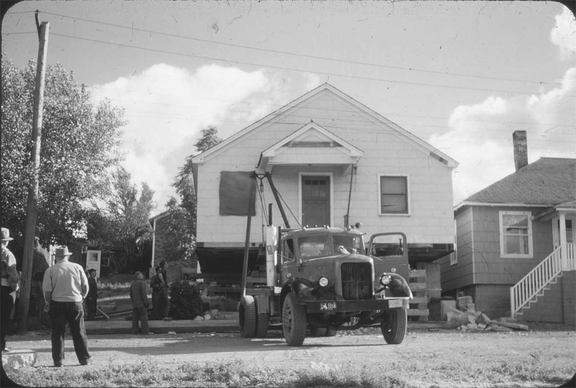 After the bust, many miners and their families moved their lives, their families—and their houses—from outlying mining towns into Rock Springs. This house was moved in from Superior in the 1950s. Sweetwater County Historical Museum.