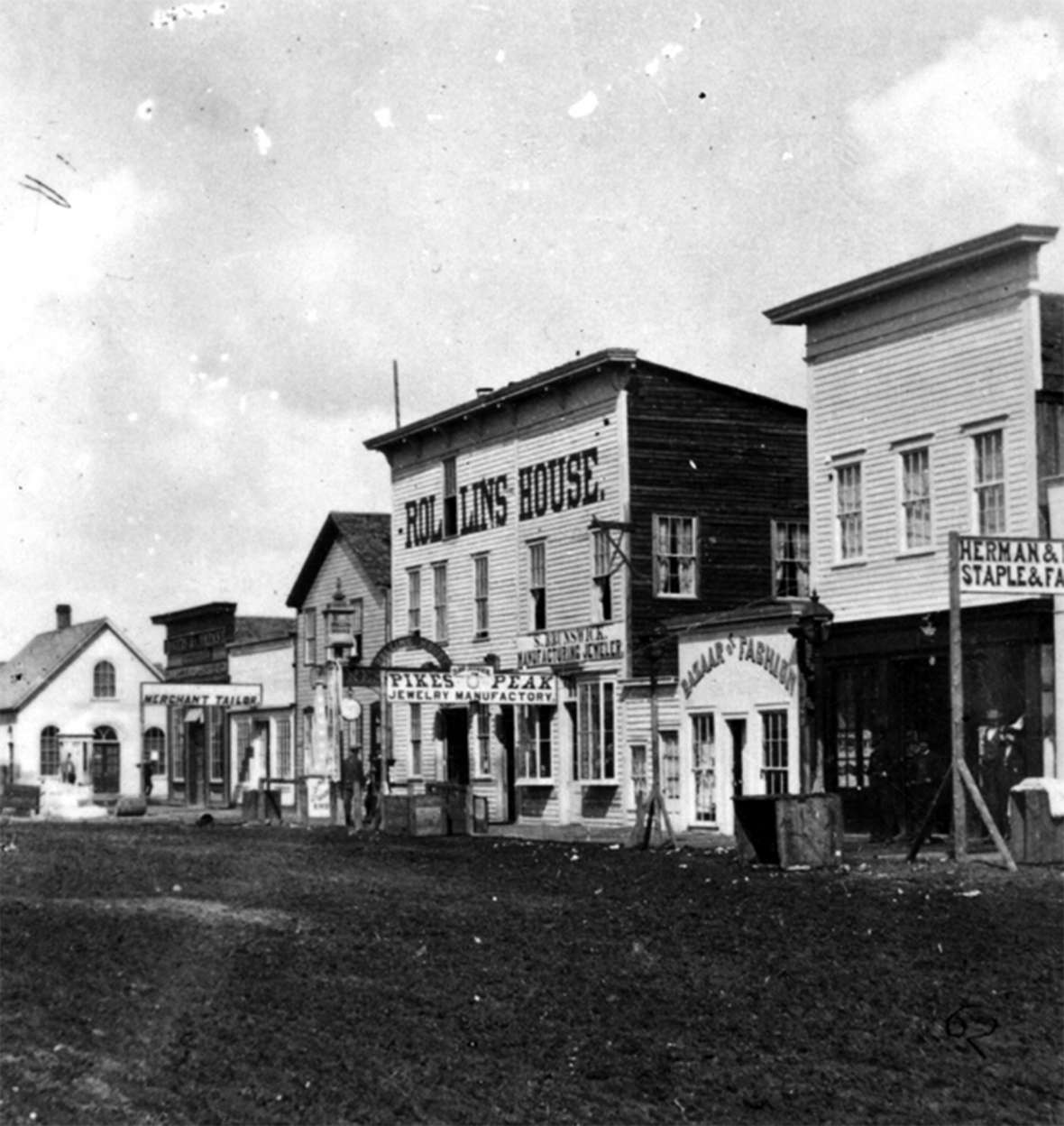 Dickinson lectured to a crowd of 250 the second time she visted Cheyenne, in September 1869. The event may have been at the Rollins House hotel, where the Territorial Legislature met the following month—and two months later voted for votes for women. W.H. Jackson photo.