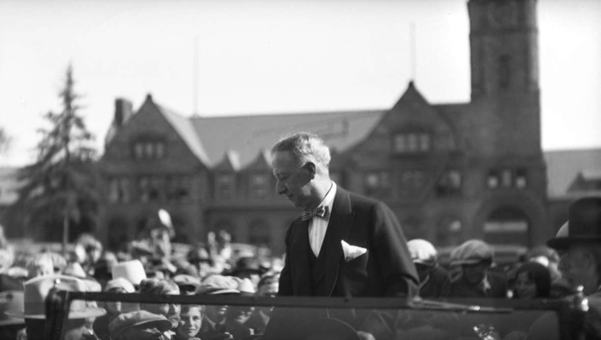 Democratic Presidential candidate Al Smith speaks at the Union Pacific depot in Cheyenne, 1928. He opposed Prohibition and lost in a landslide. Wyoming State Archives.
