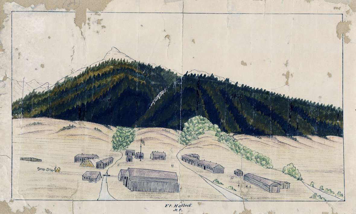 Fort Halleck, shown here in a drawing by Bugler C. Moellman, lay on the Overland Trail at the north end of Elk Mountain. 'Three clear streams run through the garrison', Caspar Collins wrote his mother in Ohio in 1862. American Heritage Center.