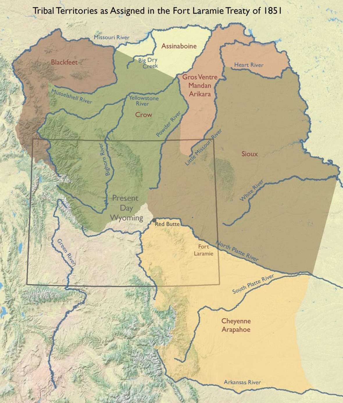 The 1851 Fort Laramie Treaty was the first to assign separate lands to the tribes of the Northern Plains. Map by WyGISC, University of Wyoming.