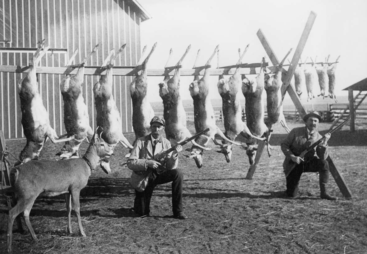 Wyoming Territory and, in its early years, the state of Wyoming enacted a series of laws that did little to curb the wanton killing of game. Here, a pair of hunters pose with their take—and a living pet—around 1900. J.E. Stimson photo, Wyoming State Archives.