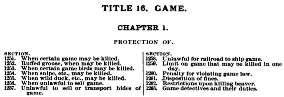 A list of new game-protection provisions from the territorial statutes of 1886. Wyoming Territorial Statutes.