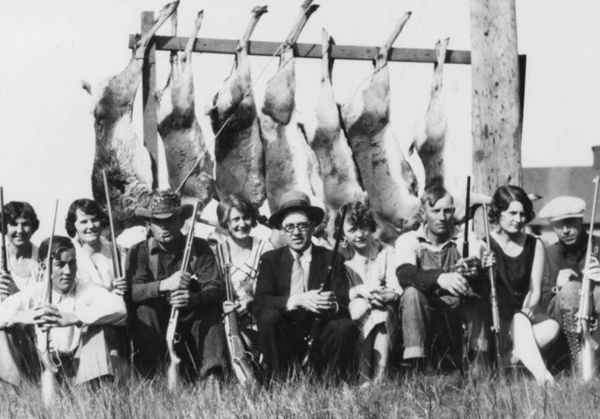 By 1906, there may have been as few as 2,000 pronghorn antelope left in Wyoming. In 1909, the legislature banned antelope hunting entirely. By the 1920s, the herds were coming back; antelope hunting was again allowed in 1927. Here, some happy hunters show off their take near Como, east of Medicine Bow, in 1929. Wyoming State Archives.