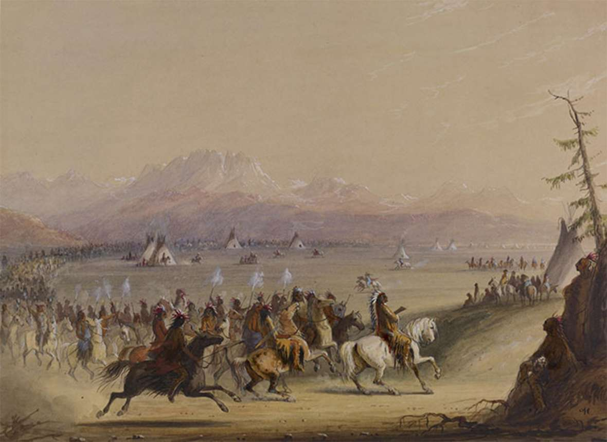 Alfred Jacob Miller's many pictures of indigenous people in the 1830s included this of Shoshone warriors at a fur-trade rendezvous in the Green River Valley. Not far away, in 1812, eastbound Astorian Robert Stuart stumbled on the remains of a Crow ceremonial lodge on his way to crossing South Pass with the first party of whites to do so. Walter Art Museum.