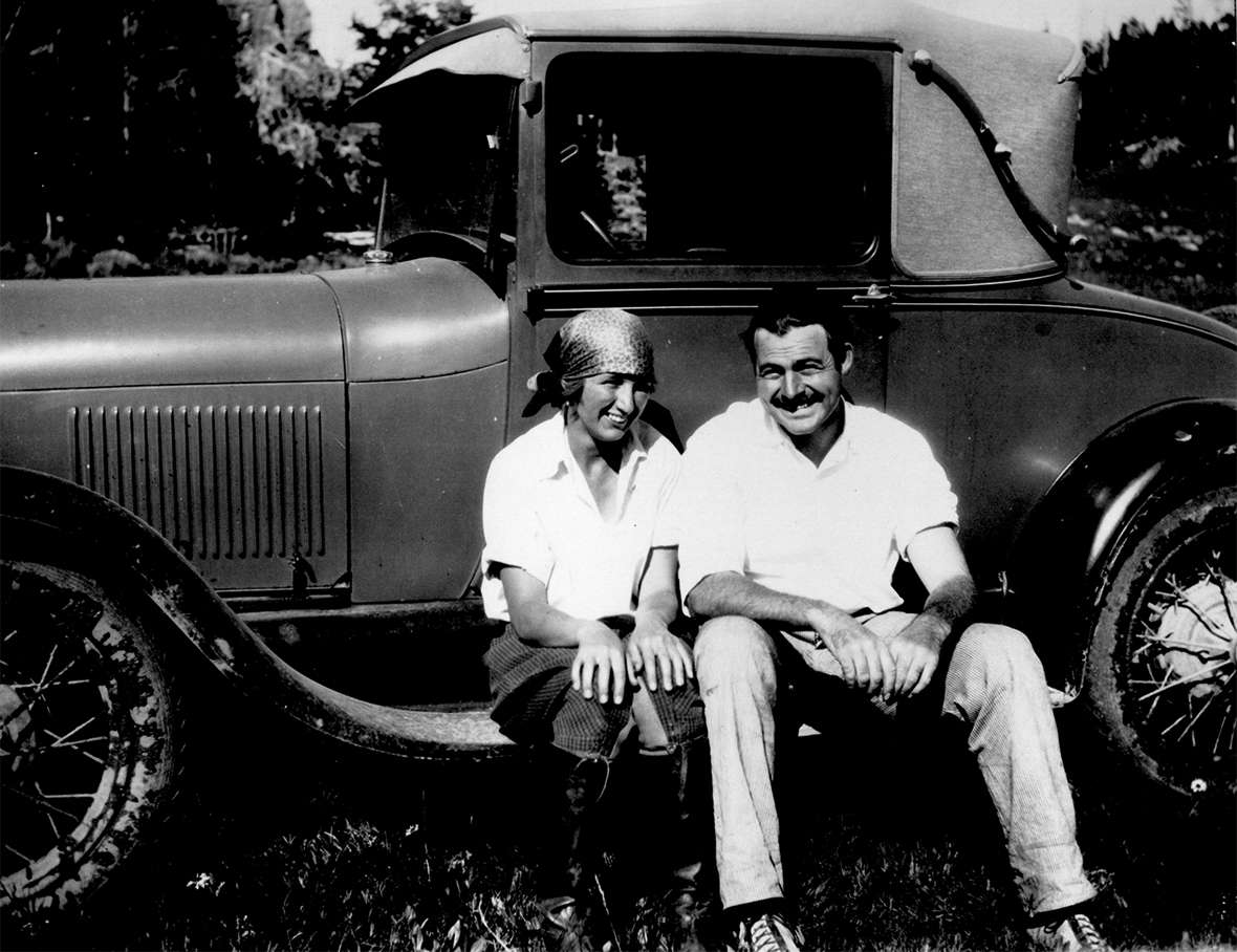 Hemingway and Frances 'Bunny' Thorne, at the time a guest at the Folly Ranch west of Sheridan, August 1928. She met Hemingway's old friend, Bill Horne, at the ranch that summer, and later married him. The car is Hemingway's yellow Ford runabout that roars through many anecdotes. Wyoming Room, Sheridan County Fulmer Public Library.