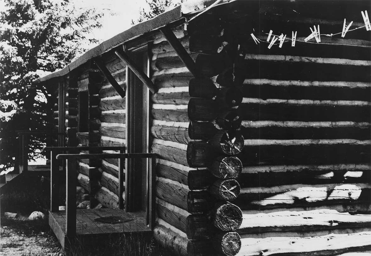 The cabin where Hemingway wrote and stayed at the Nordquists' L Bar T dude ranch in Wyoming near Cooke City, Montana. Casper College Western History Center.