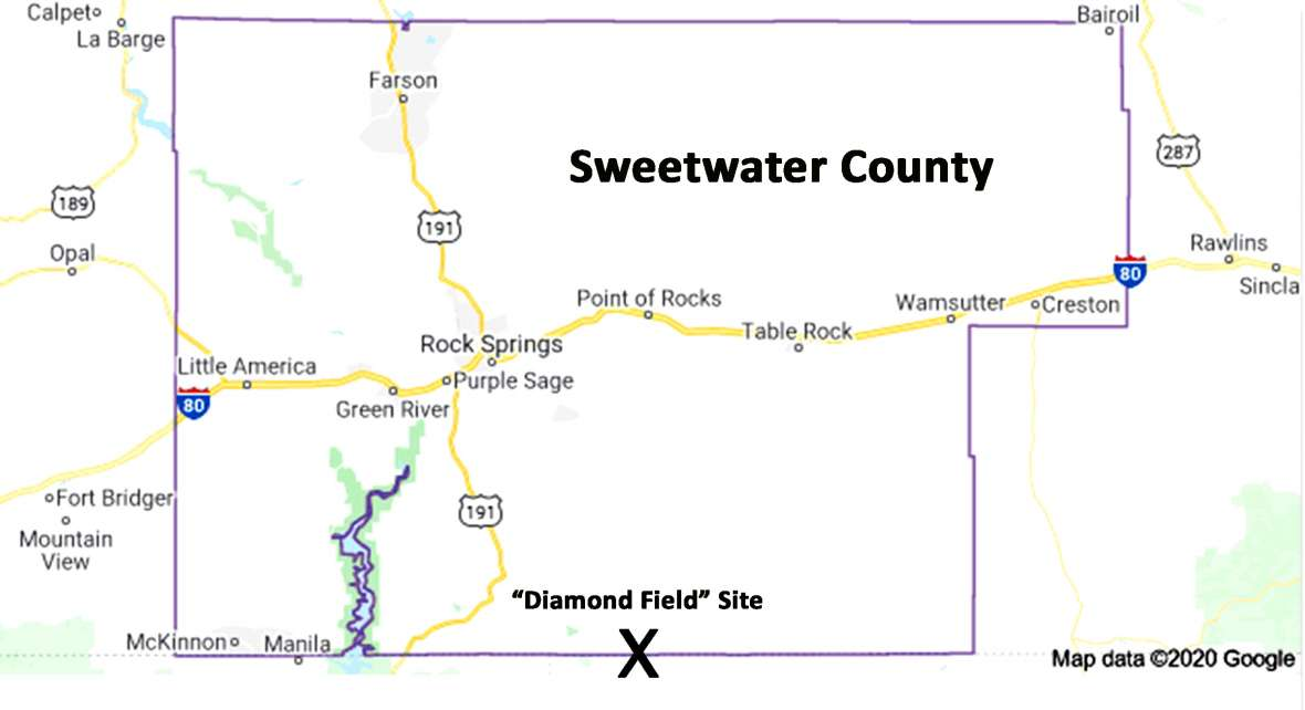 The so-called diamond field straddled the state line between Wyoming's Sweetwater County and Colorado's Moffat County. Map by author.