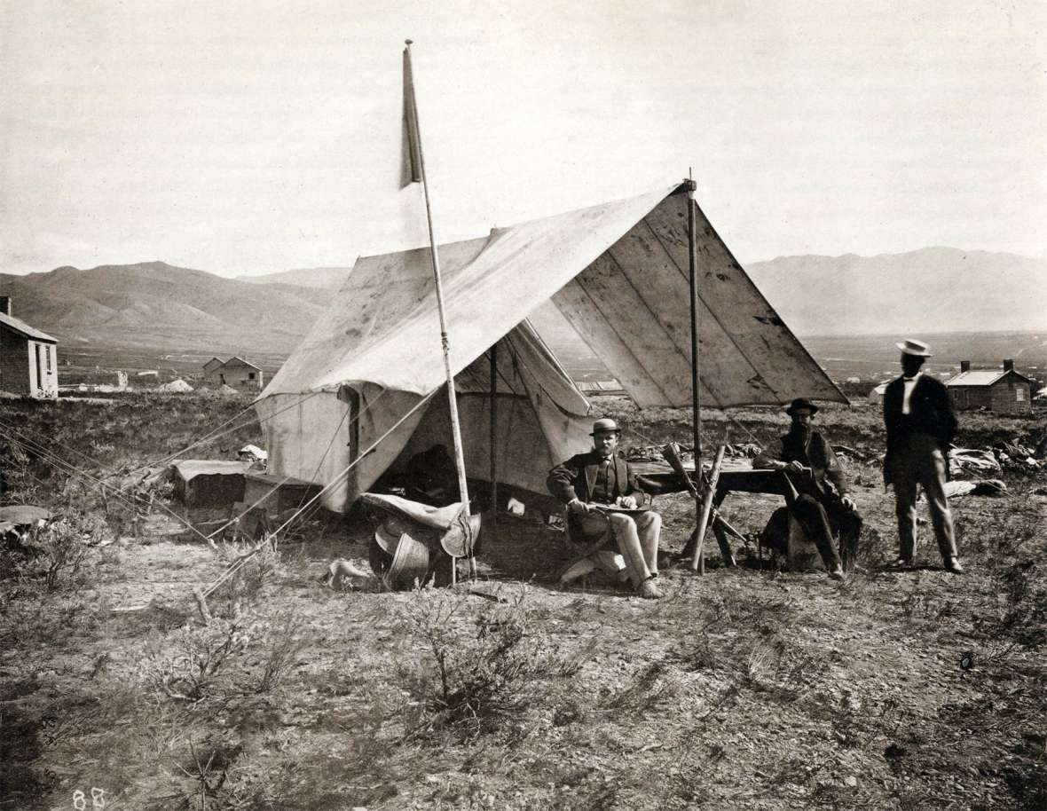 Geologist Clarence King, left, leader of the Survey of the 40th Parallel, in camp near Salt Lake City, 1868. In October 1872, King led some of his crew to the secret diamond fields to find out what was what. Wikipedia.