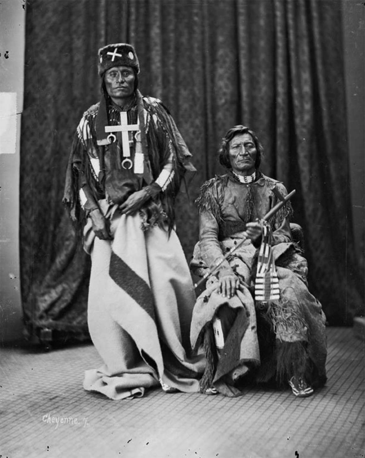 Little Wolf, left, and Dull Knife of the Northern Cheyenne. Late in 1876, the Army attacked and destroyed their village in the Bighorn Mountains. Their people surrendered in 1877, traveled to Oklahoma—and finally, after much strife, hunger and death, made their way back to their homeland in Montana. Firstpeople.us.