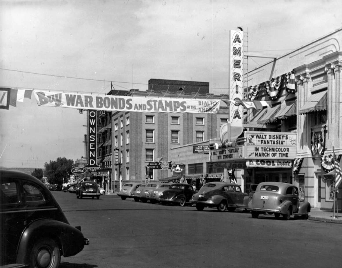 Patriotic moviegoers could buy war bonds at the Rialto and, shown here, America theaters in downtown Casper, Wyo. By February 1943, 25,000 workers in 303 Wyoming businesses were enrolled in bond-buying payroll plans. Casper College Western History Center.