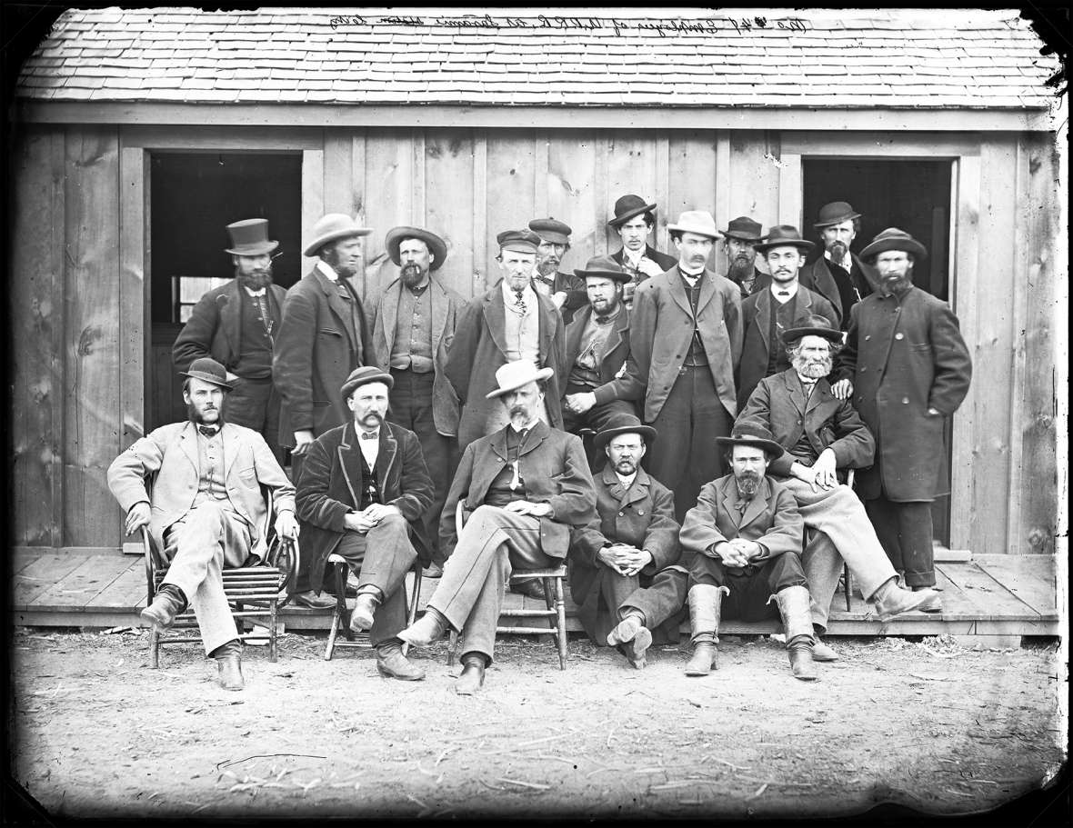 Union Pacific Railroad employees at Laramie, about 1868. These well-dressed men may well have been clerks and foremen. The white population as the railroad was built across the future Wyoming Territory was heavily male. Men like these, and their crews, made up most of the Index's readership. A.J. Russell photo.