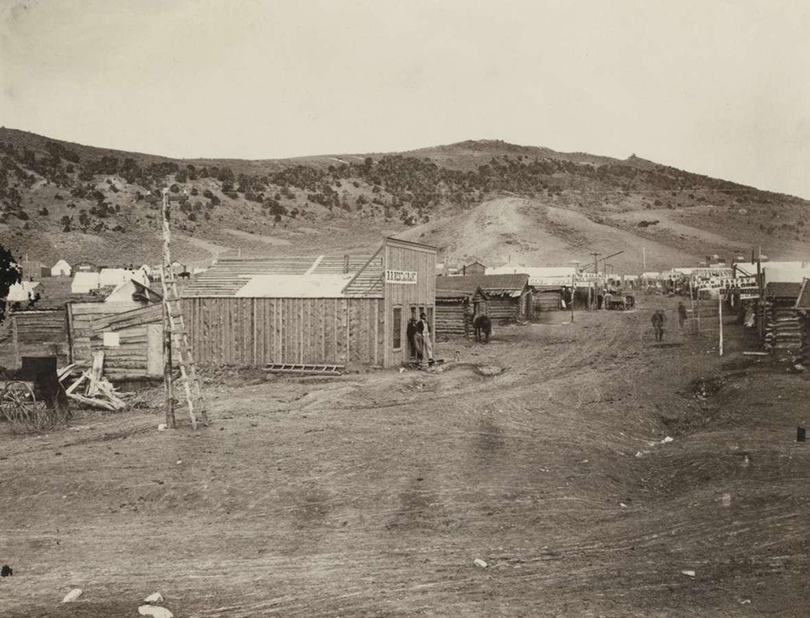 Bear River City, where in November 1868 the Frontier Index, after praising a vigilante hanging, met its end when a mob of friends of the hanging's victims burned its office and smashed the press. A.J. Russell photo.