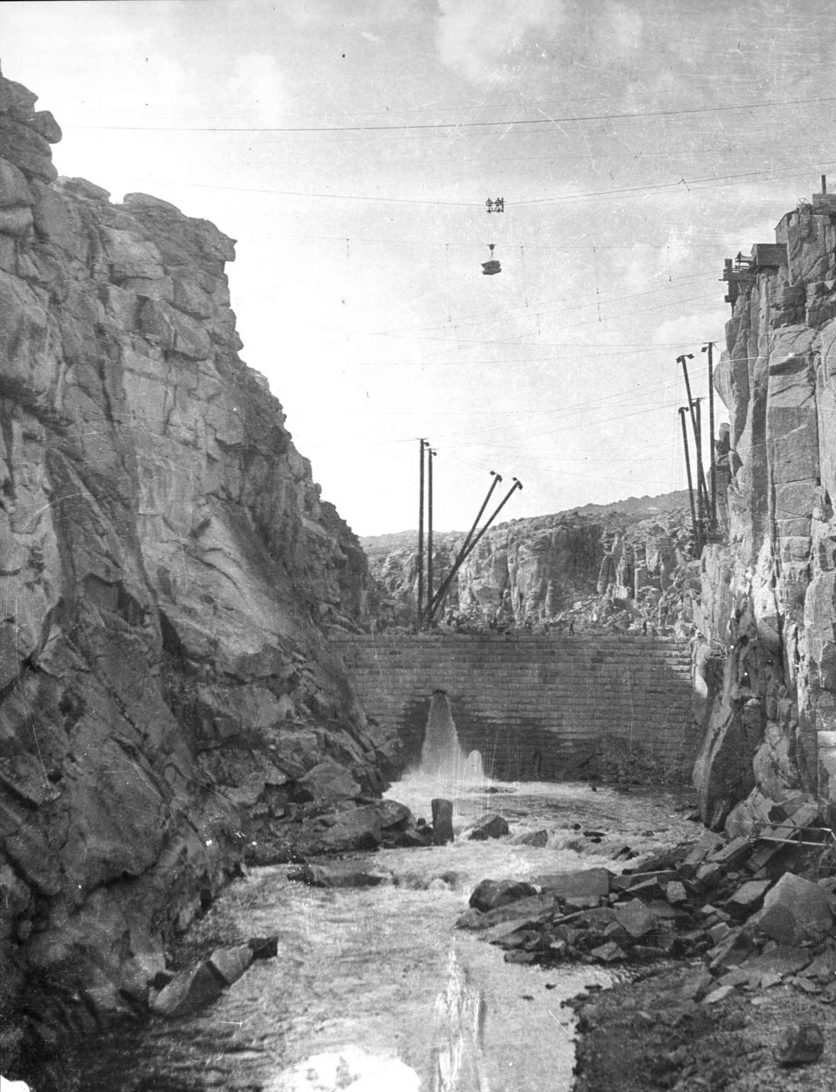 Pathfinder Dam on the North Platte River, under construction about 1906. Casper College Western History Center.
