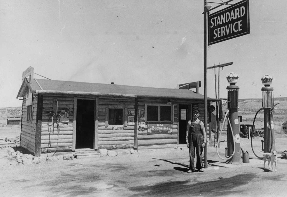Andrew Anderson, at his service station at remote Coyote Springs between Hanna, Wyo. and Walcott on the Lincoln Highway/U.S. 30, perhaps in the 1930s. Courtesy Nancy Anderson.