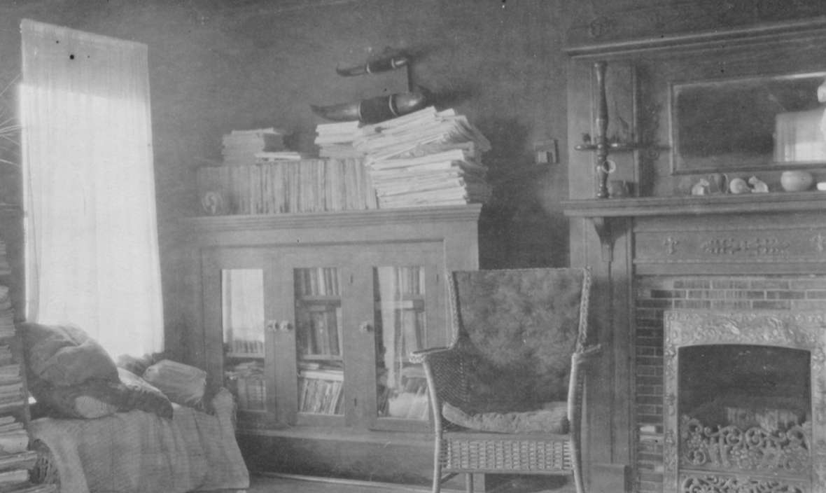 There was plenty of reading material in the ranch house living room, 1920s. Love family photo.