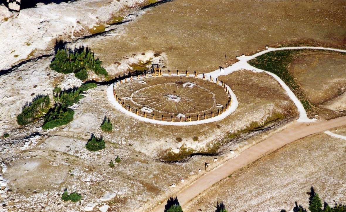 The Bighorn Medicine Wheel, 2011. The rock circle is about 80 feet in diameter, with 28 'spokes' radiating from a central cairn, five cairns around the rim and a sixth slightly outside the perimeter. US Forest Service photo.