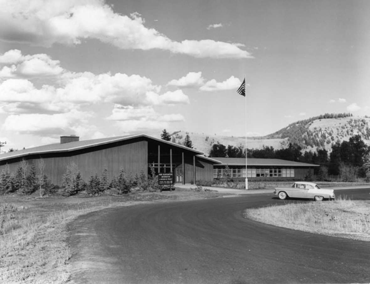 Mission 66 started in 1956, as the National Park Service began to expand and modernize its facilities nationwide. The 1958 visitor center, shown here, at Moose in Grand Teton National Park was among the earliest in the nation. In 2008, the Craig Thomas Visitor Center replaced it. National Park Service.