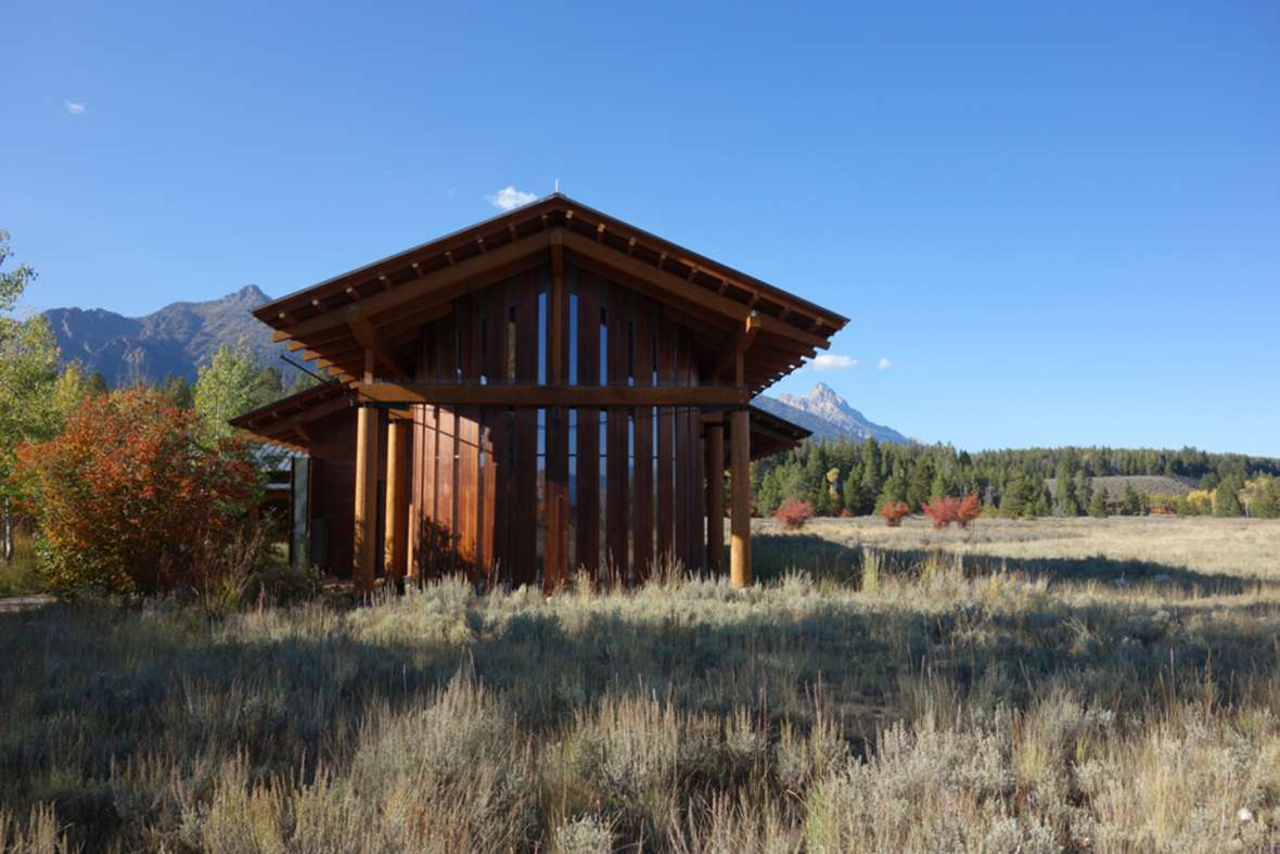 Competed in 2008, The Laurance Rockefeller Preserve Interpretive Center in Grand Teton National Park merges elements of the old parkitecture—exposed wooden beams, a wood exterior and a rock chimney—with much more modern stylings. Mary Humstone photo.