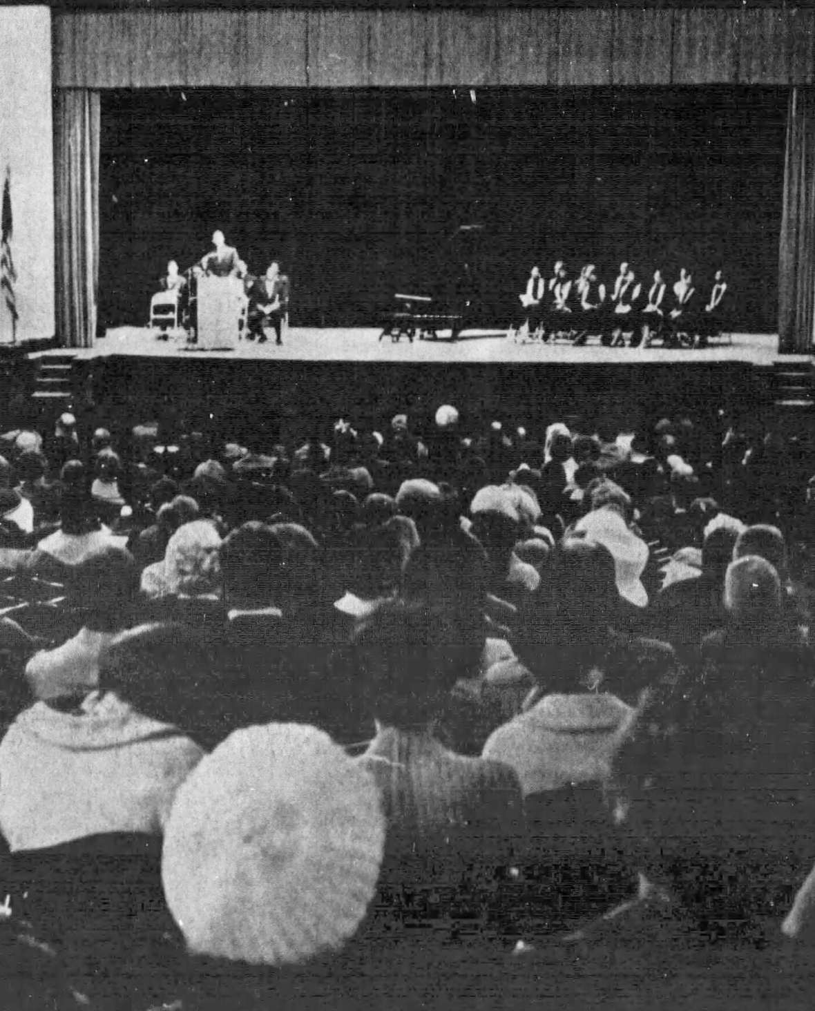 At a memorial for Martin Luther King, Jr. at Natrona County High School in Casper a few days after the killing, 750 people gathered to hear speeches from members of the Casper Interracial Council and singing from Barbara Banister and the Grace AME Church choir, right. Casper College Western History Center.