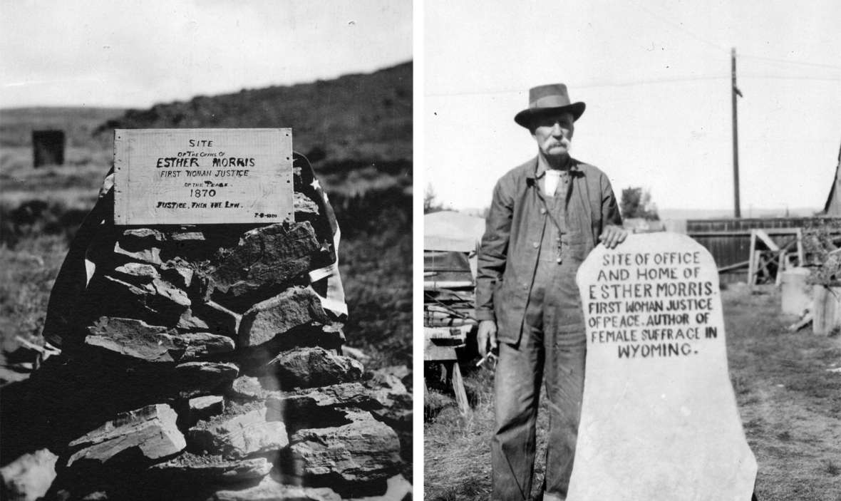 Herman Nickerson and Grace Raymond Hebard put up a marker in South Pass City in 1920 naming Esther Morris as the 'author of female suffrage in Wyoming.' An early version, left, and Nickerson, right, with a later version. American Heritage Center.