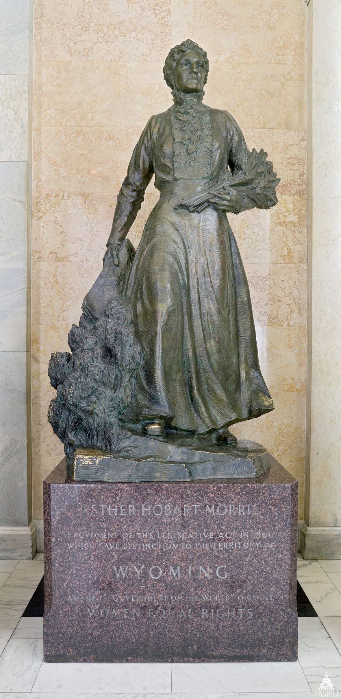 The heroic Avard Fairbanks statue of Esther Morris at the U.S. Capitol was installed in 1960, and remains there. A duplicate stood for decades in front of the Wyoming Capitol. As part of the 2019 remodel of the building the sculpture was moved underground to the Capitol Extension between the Capitol and the Herschler Building. Architect of the Capitol.
