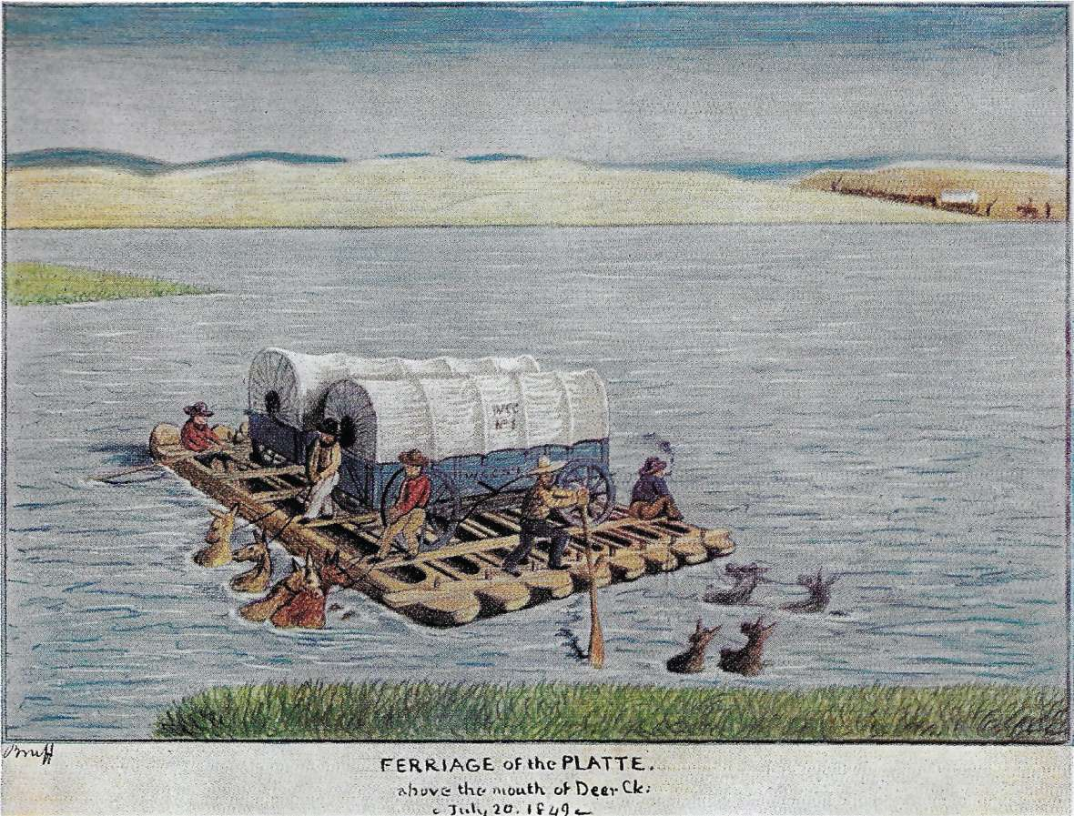 Ferry crossings were much safer--and more expensive--than trying to swim the livestock. California-bound J. Goldsborough Bruff's 1849 drawing of an eight-dugpout ferry at the Deer Creek crossing of the North Platte shows mules tied to the boat. Courtesy Randy Brown.