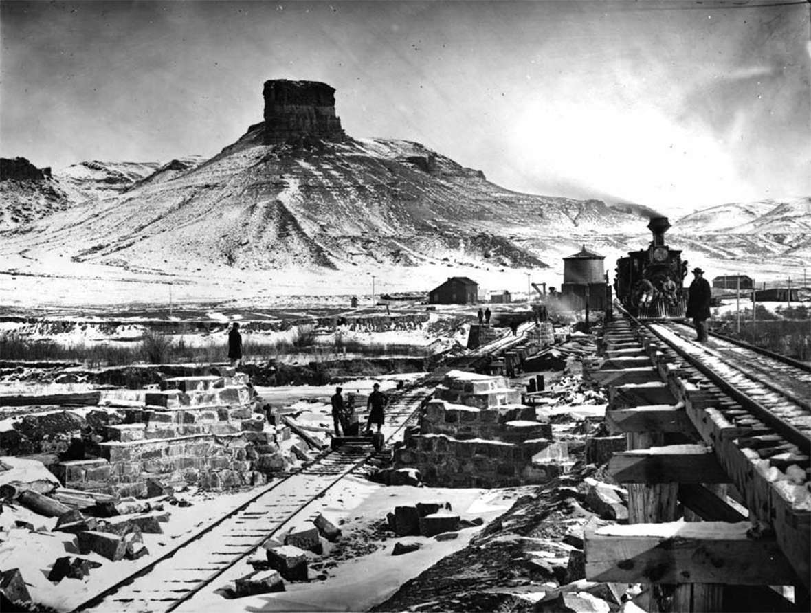 Temporary and permanent Union Pacific Railroad bridges at the town of Green River, Wyoming Territory, 1868. For his expeditions down the Colorado in 1869 and 1871, Powell, his crews and their boats took the train to Green River and launched from there. A.J. Russell photo.