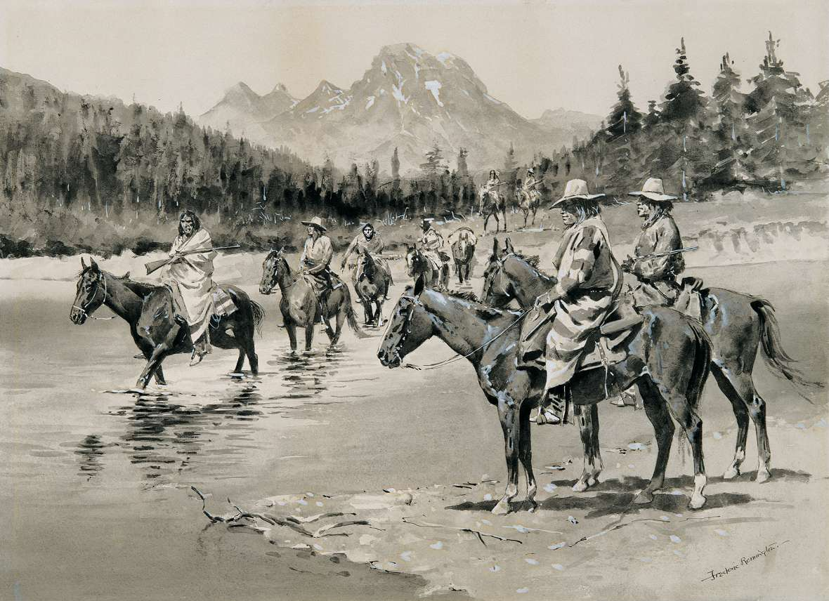 Frederic Remington imagined how the party of Bannocks looked fording the Snake River in Jackson Hole in 1895 for an article in Harper's Magazine. Remington Art Museum.