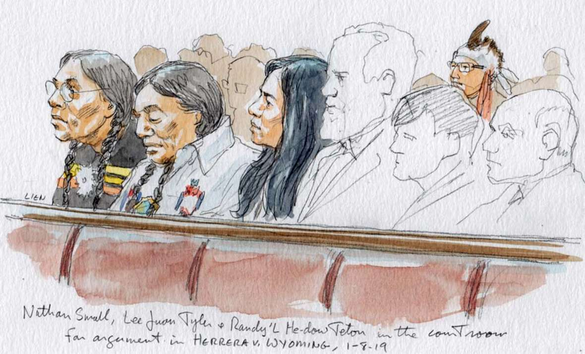 Crow Tribe members Nathan Small, Lee Juan Tyler and Randy'L He-dow Teton listen to oral arguments in the Herrera case at the U.S. Supreme Court, January 2019, in Herrera v. Wyoming. SCOTUSblog.