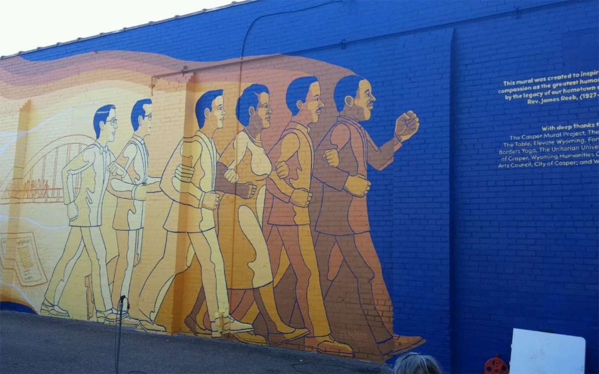 A new mural memorializing James Reeb, far left, Martin Luther King, far right and other civil rights activists was unveiled in downtown Casper in 2019. Universalist Unitarian Community of Casper; mural by Tony Elmore.