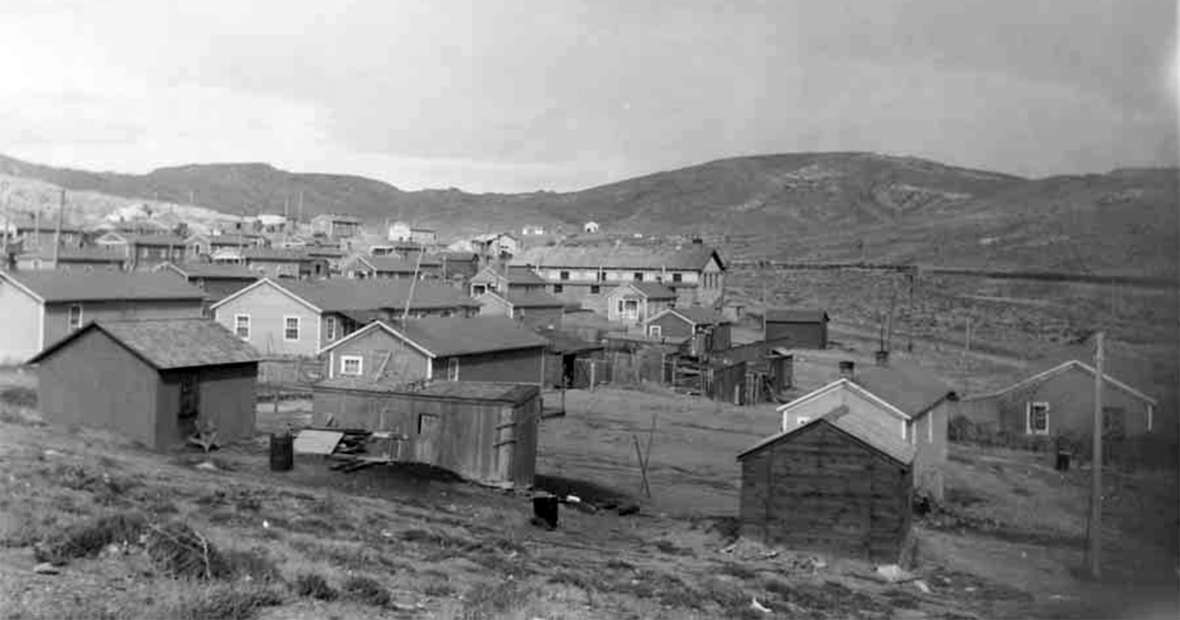 'Seventy-five comfortable and commodious houses have been built and others are being added,' the state mining inspector reported of Reliance in 1911. The first camp also included a boarding house, bath house, mine offices and the mine entrance. Calling the houses 'comfortable and commodious' was probably an exaggeration. Sweetwater County Historical Museum.