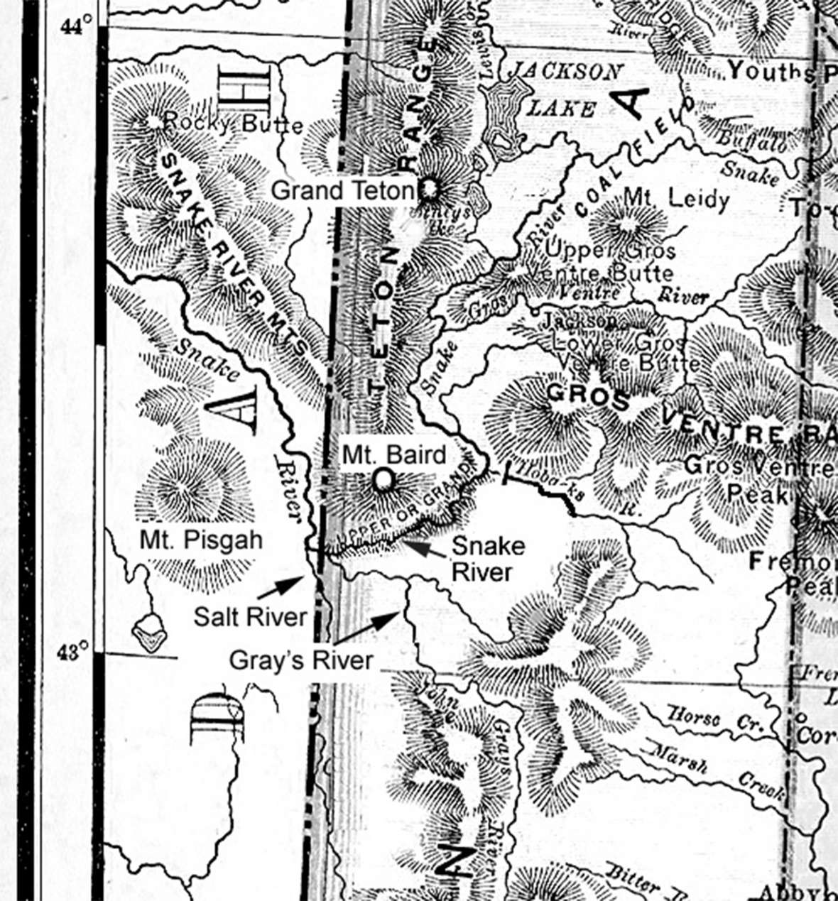Part of an early map of Wyoming Territory showing the confluence of the Snake, Gray's and Salt rivers near present Alpine, Wyo. south of Jackson, where the survey party had such a difficult time crossing the Snake Rier. Author's collection.