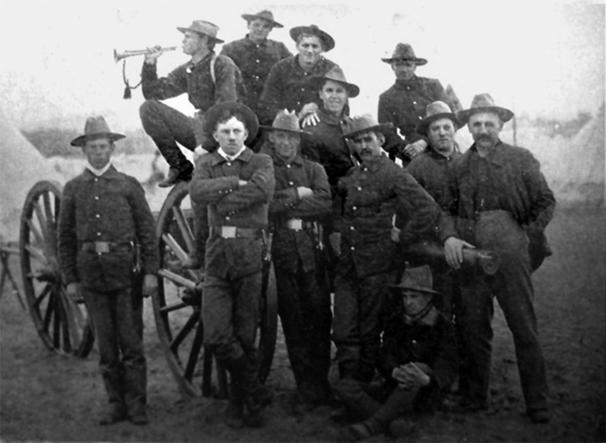 A gun crew of the Second Volunteer Cavalry, ca. 1898. Wyoming Tails and Trails.